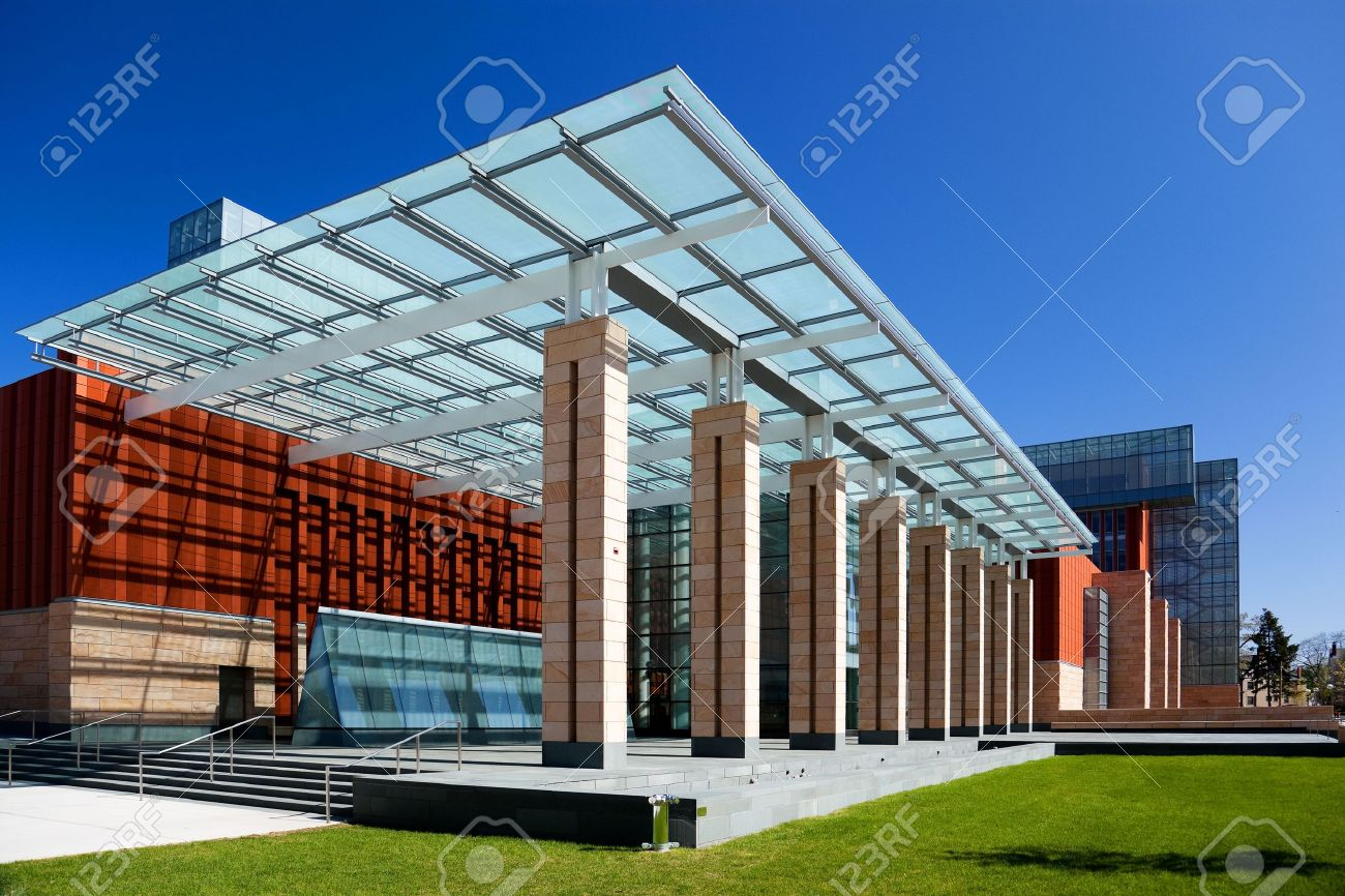 Modern Columns modern office building with a glass roof and columns stock photo