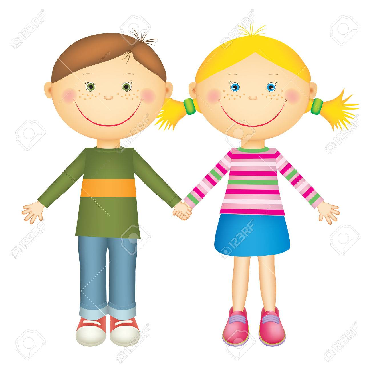happy little boy and girl holding hands and smiling isolated rh 123rf com Black and White Clip Art Boy and Girl Holding Hands Holding Hands Clip Art
