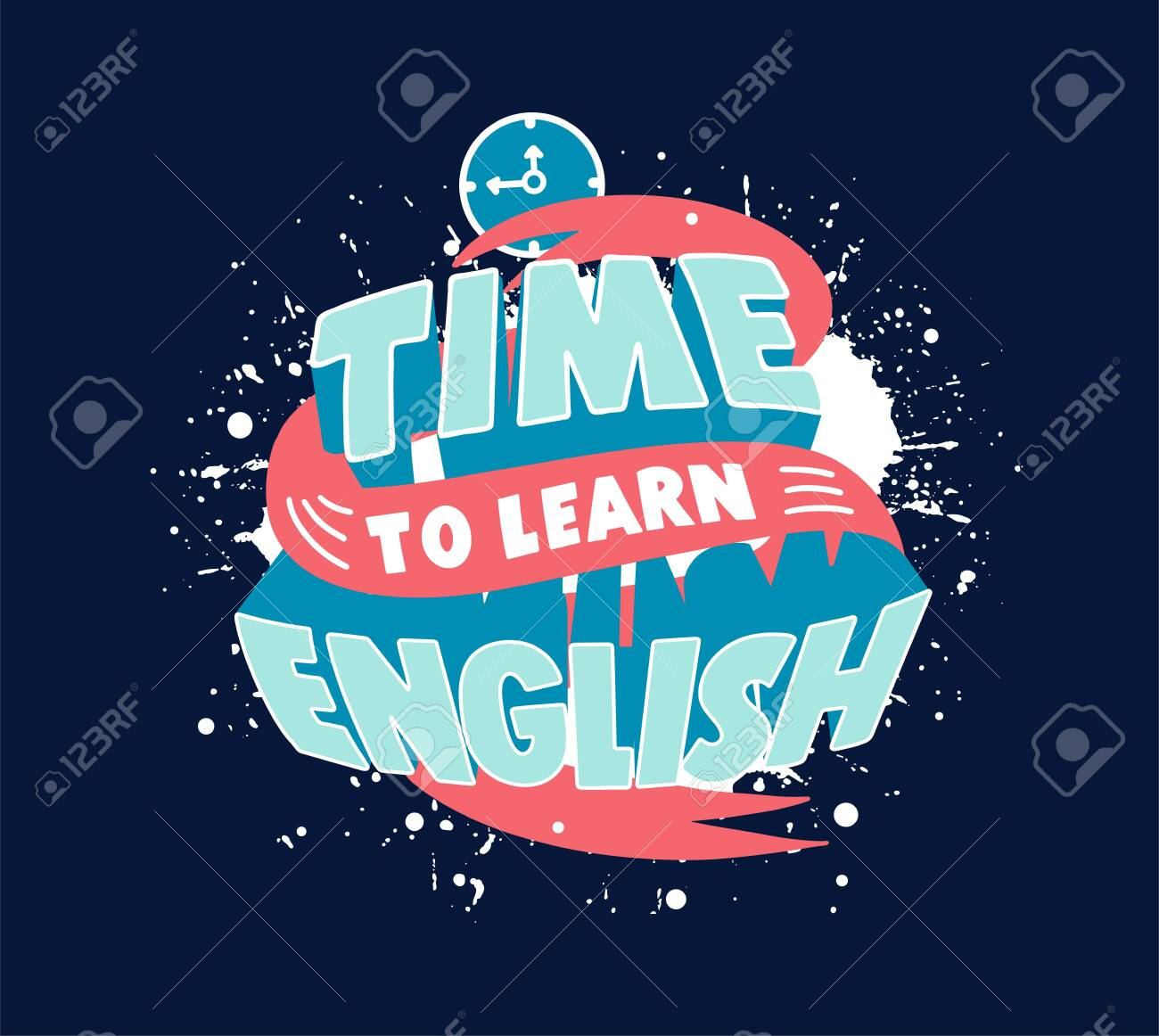 Study English phrase. Creative poster, web banner for foreign language school - 134763771
