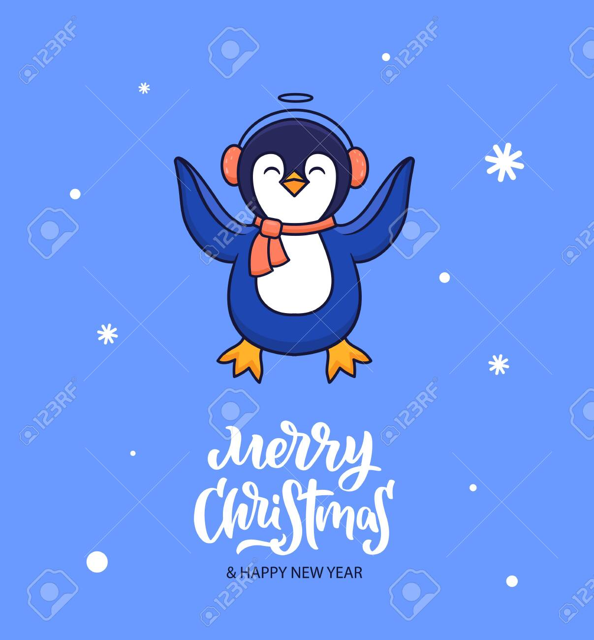 Merry Christmas and a Happy New Year Penguin T-Shirt