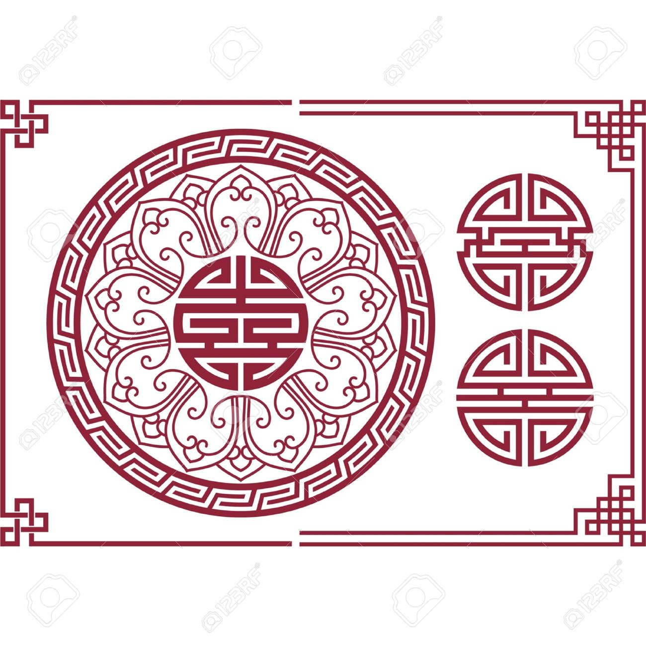 Vector Set of Oriental (Chinese) Design Elements - 9505779