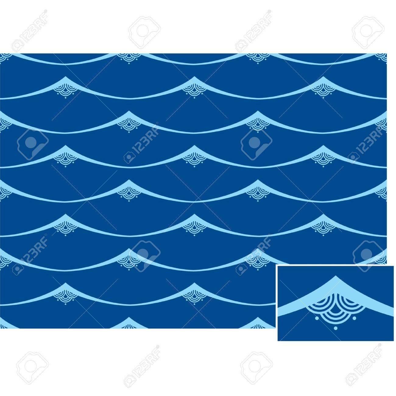 Seamless Oriental Waves Tile (background pattern wallpaper) Stock Vector - 10762941