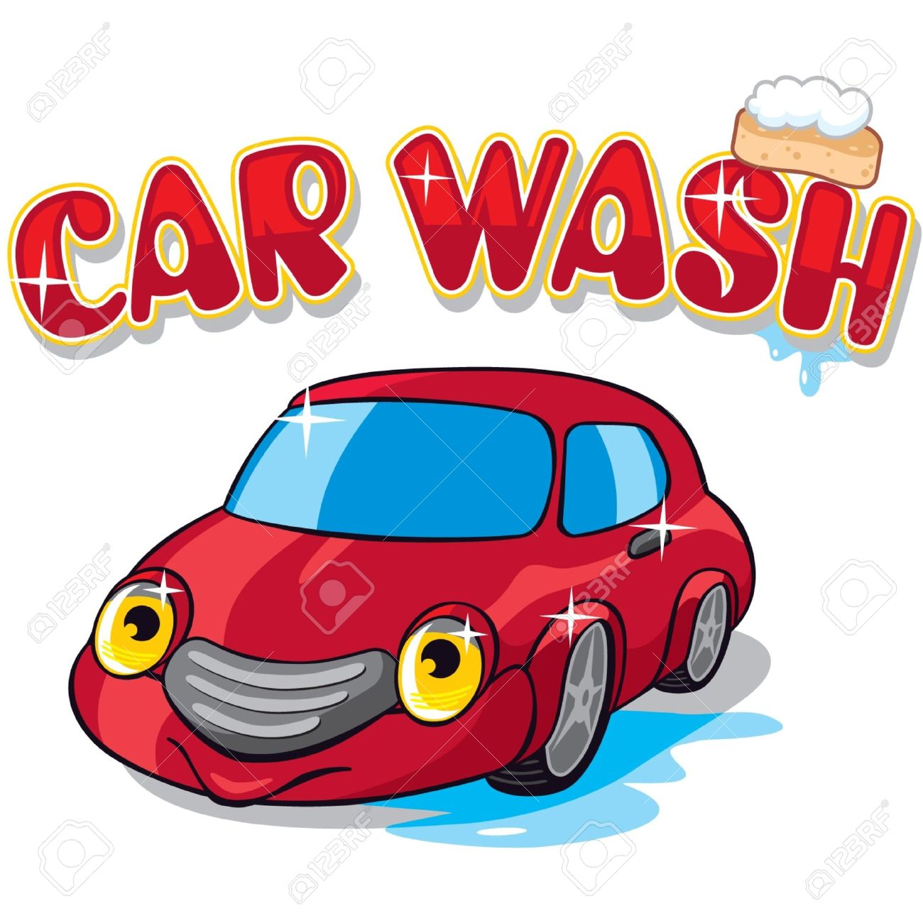 Cartoon car with car wash sign stock vector 11113930