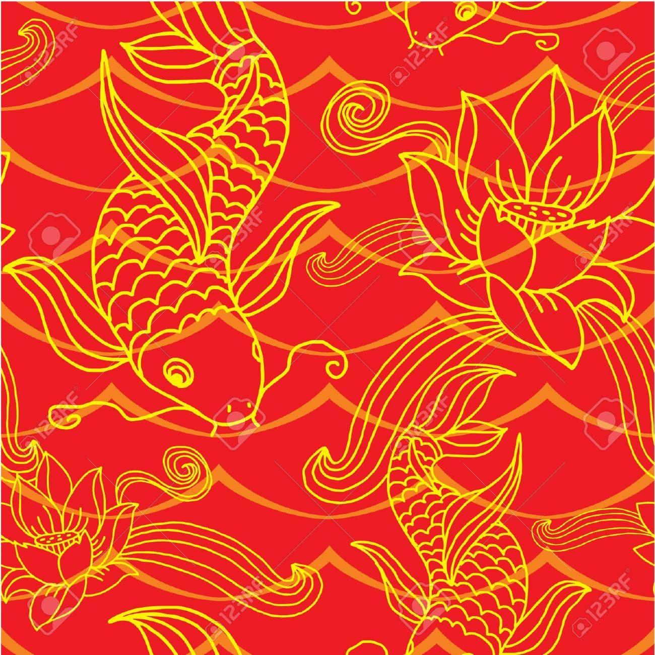 Seamless Oriental Tile (background, wallpaper, texture, pattern) Stock Vector - 11113899