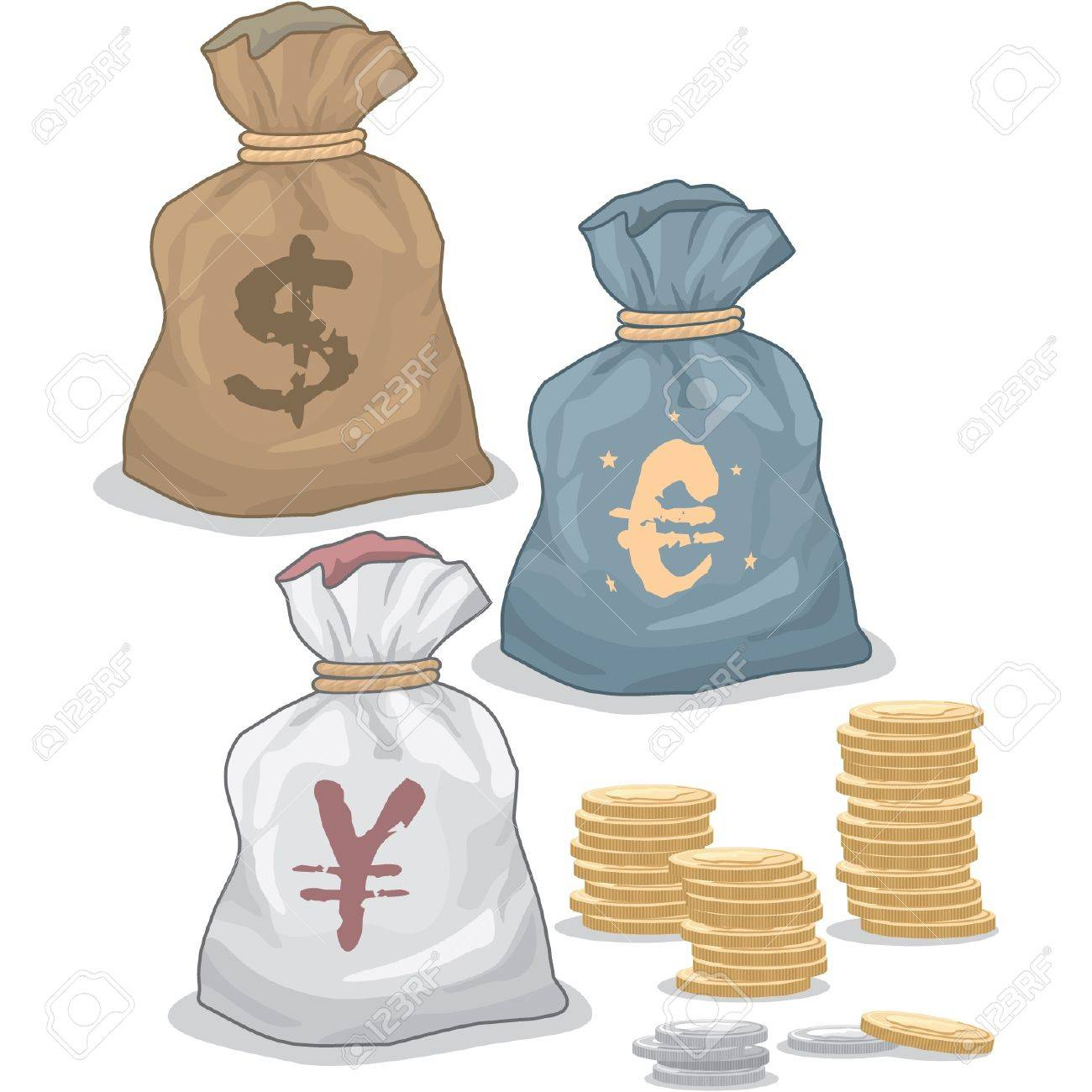 Money Bags with different Currency Stock Vector - 11113887