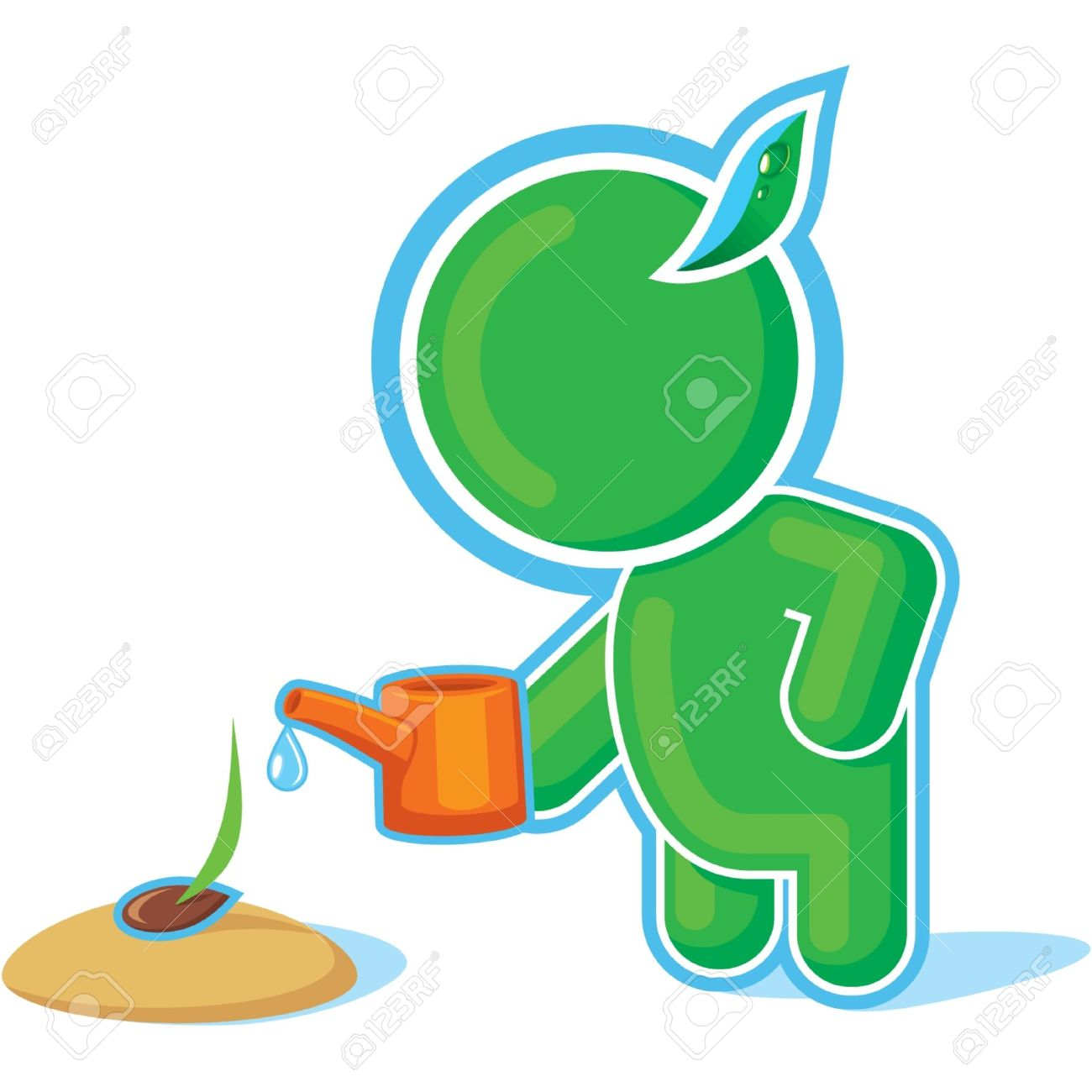 Green Hero Watering a Seed Stock Vector - 11113948
