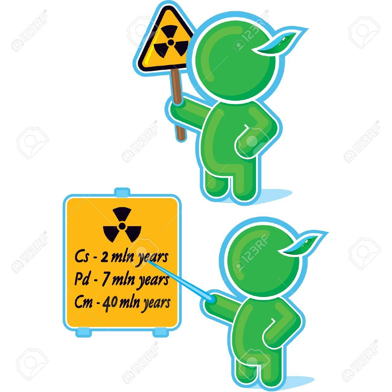Green Hero with Radiation Warning Sign Stock Vector - 11113923