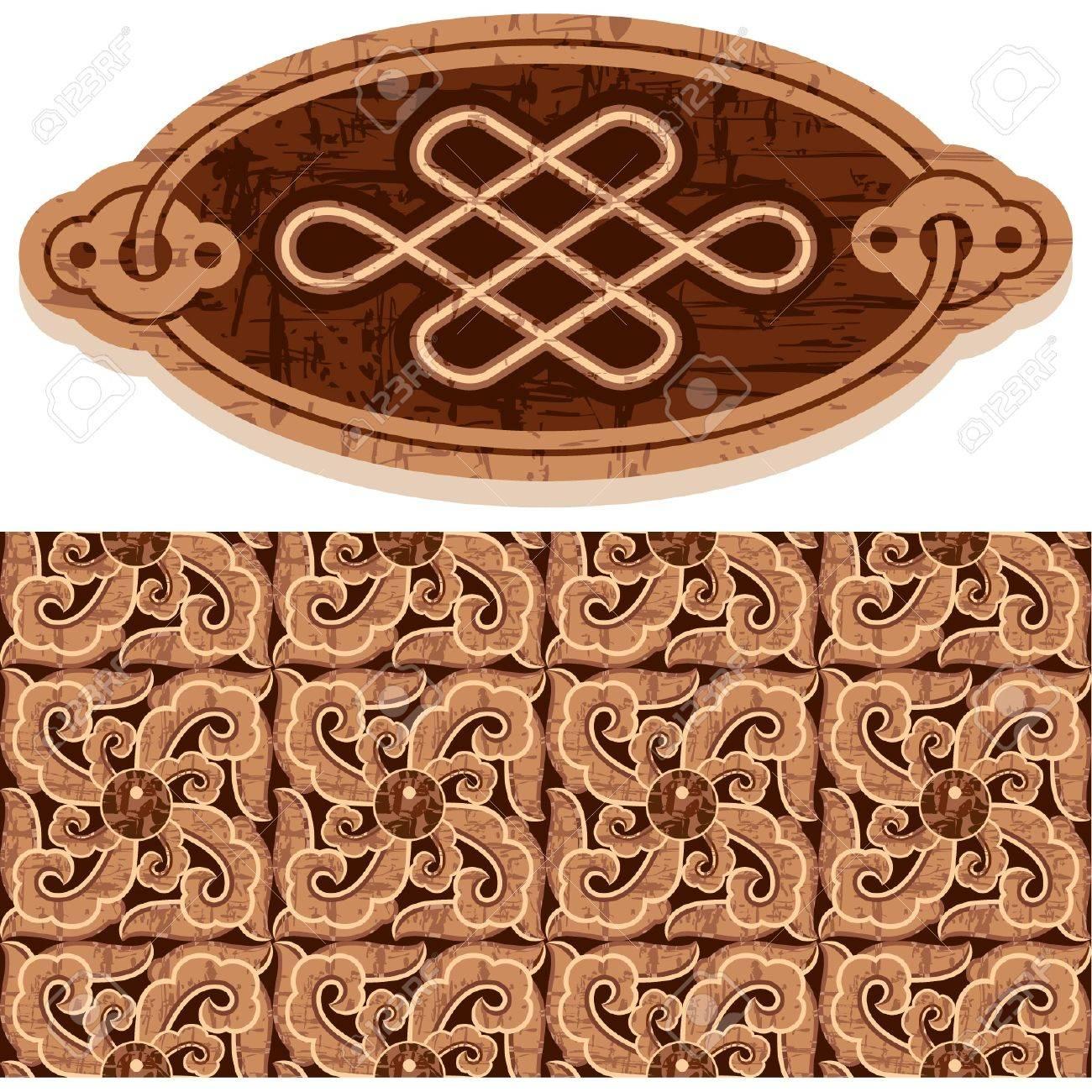 Oriental Ornament Decoration (grunge vintage woodcut) Stock Vector - 11113842