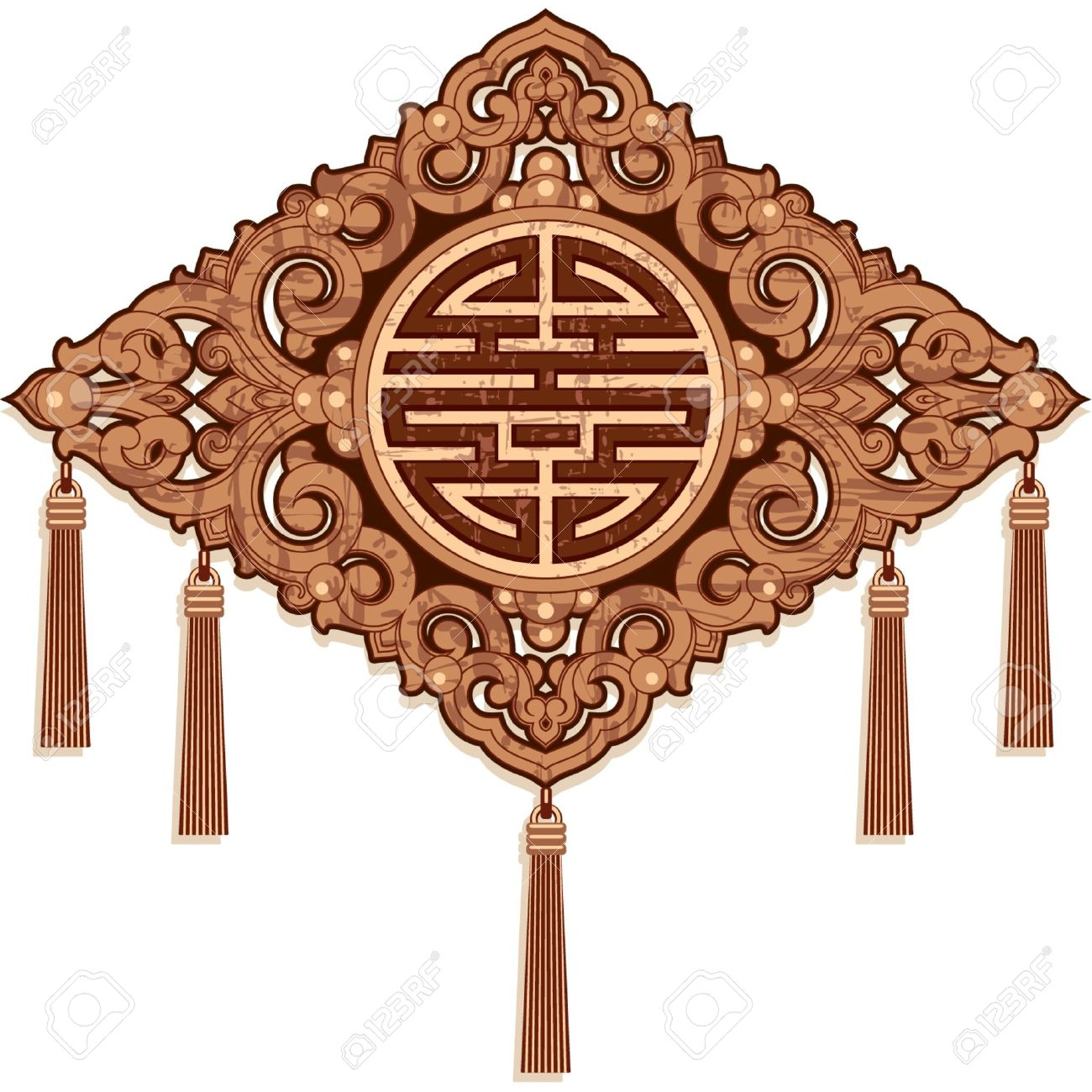 Oriental Design Element Wood Craft Decoration Royalty Free