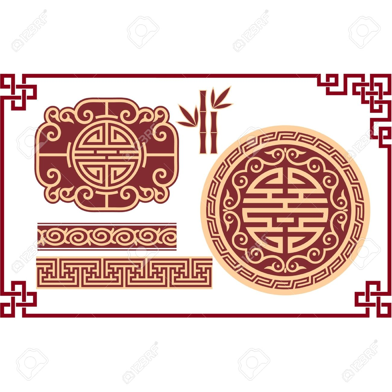Vector Set Of Oriental Chinese Design Elements Stock Vector   11993640