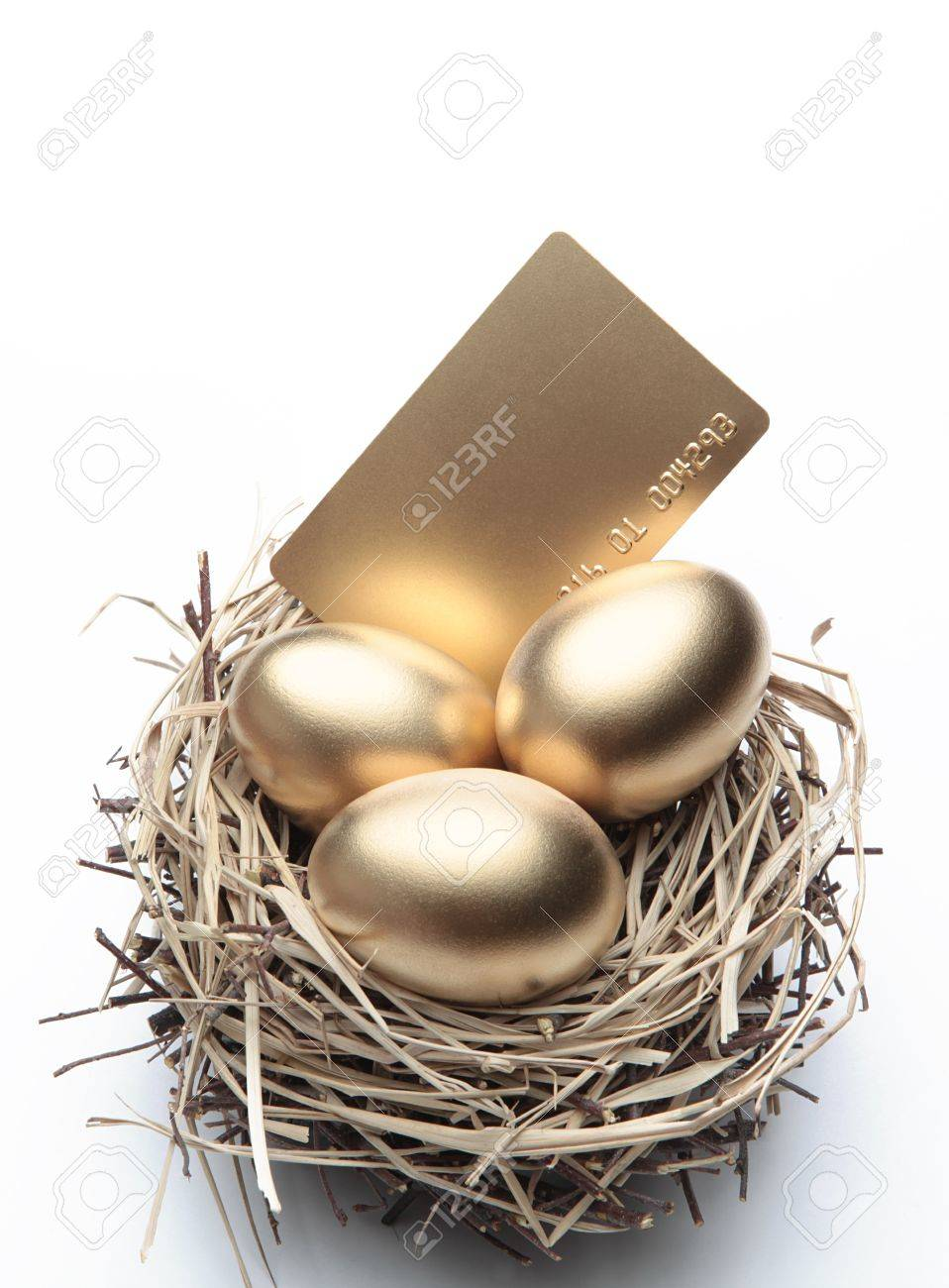 Three Golden Eggs in the Nest with Credit Card Stock Photo - 12123455