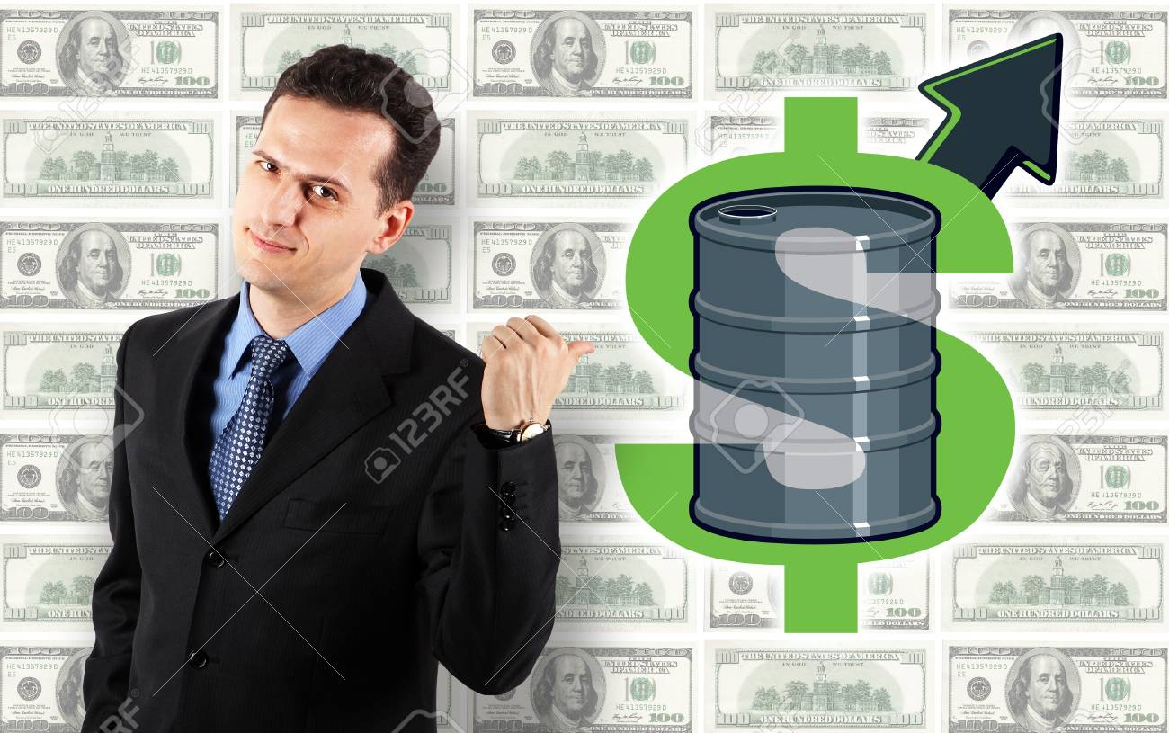 Businessman - Oil Price Up! Dollars Background Stock Photo - 12391156