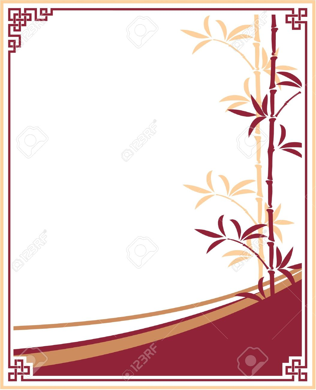 Oriental - Chinese - Template Frame with Bamboo Stock Vector - 12826116