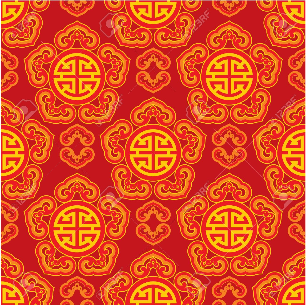oriental seamless pattern with career luck symbol royalty free