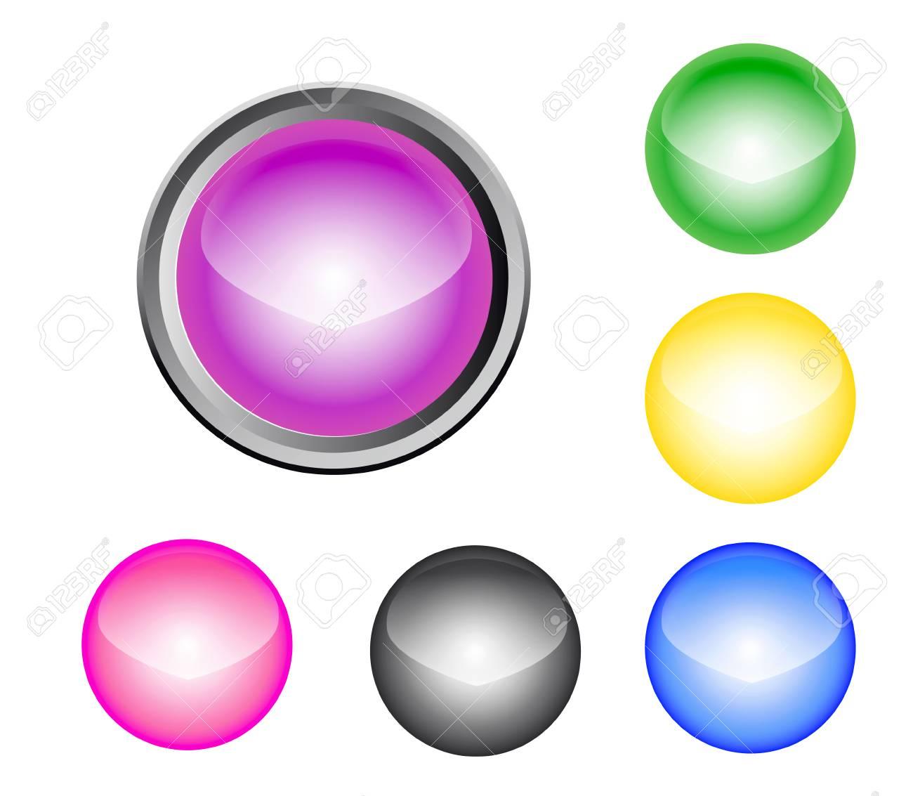 Metalic Glossy Button Stock Vector - 6746590