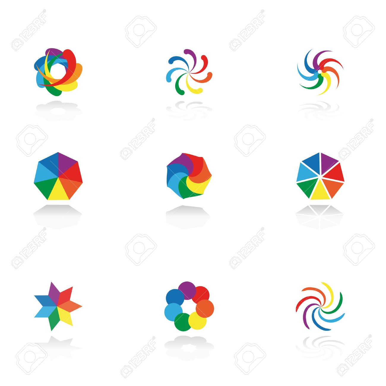 Collection of 9 design elements and graphics.   CMYK. Stock Vector - 8010600