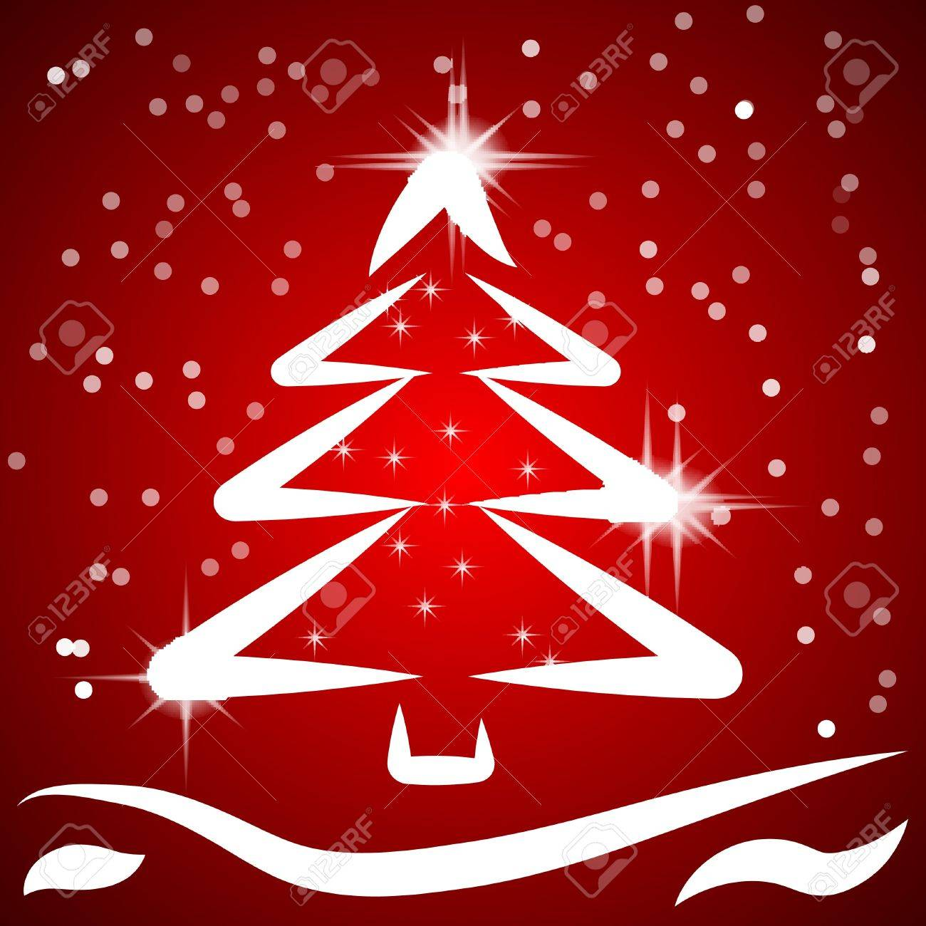 Red Christmas Background With Fancy Tree. Vector. Royalty Free ...
