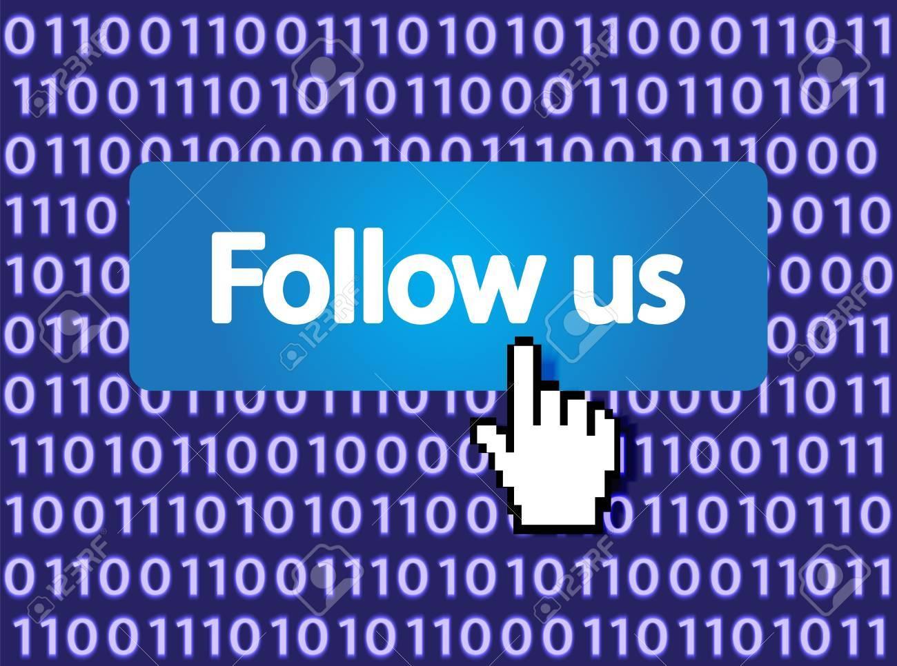 Follow Me Button with Hand Cursor  Vector Illustration Stock Vector - 12477796