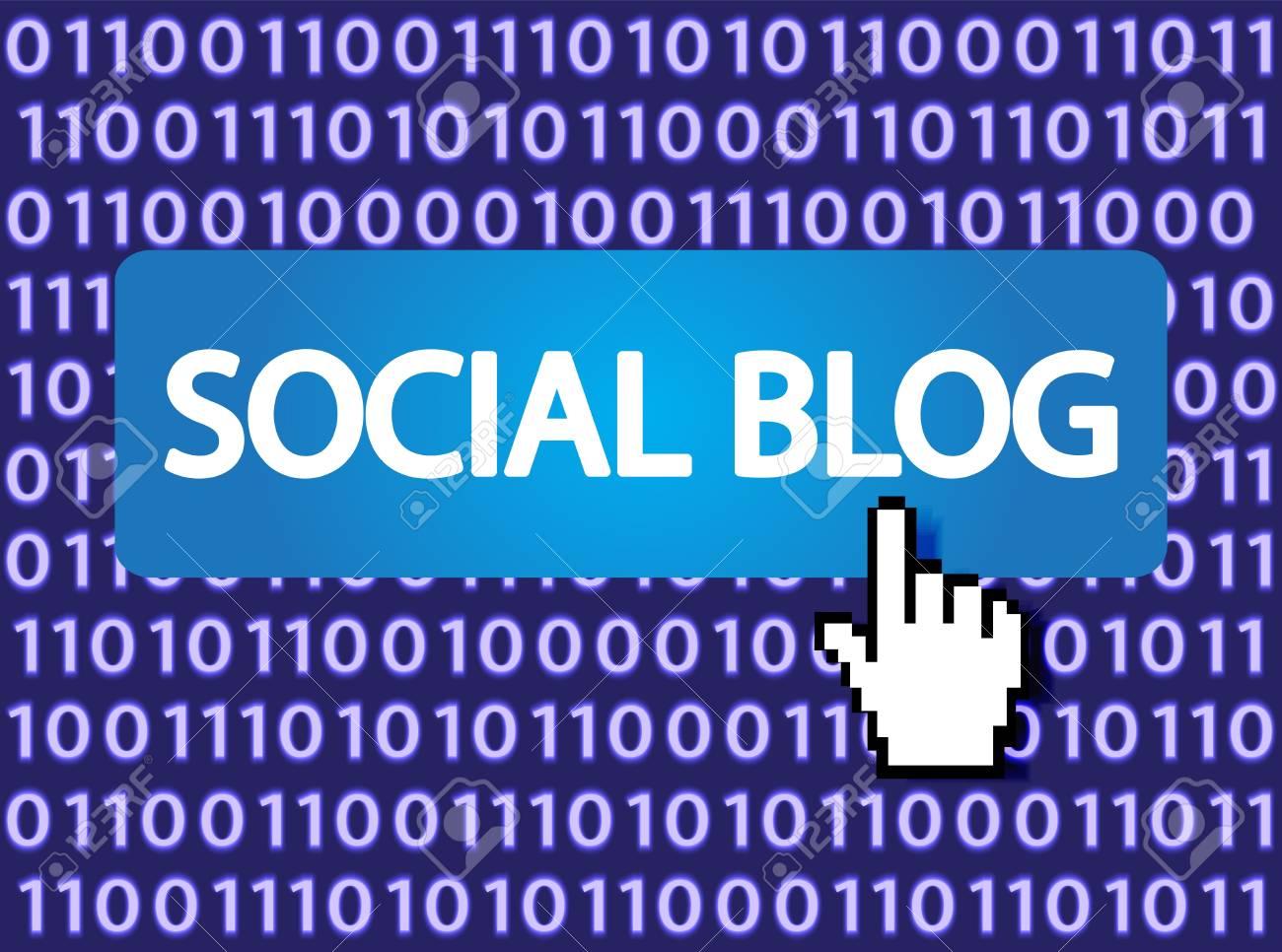 Social blog Button with Hand Cursor   Illustration Stock Vector - 12796354