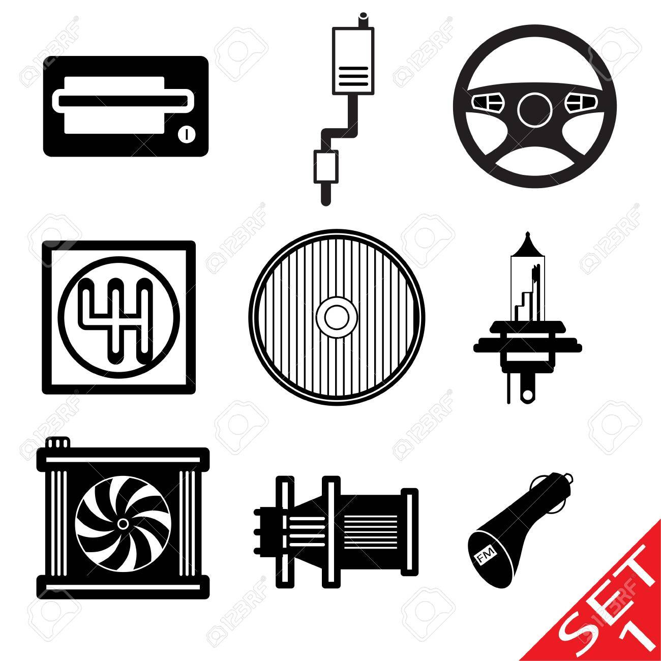 Car icon parts and accessories  Vector Illustration Stock Photo - 16785486