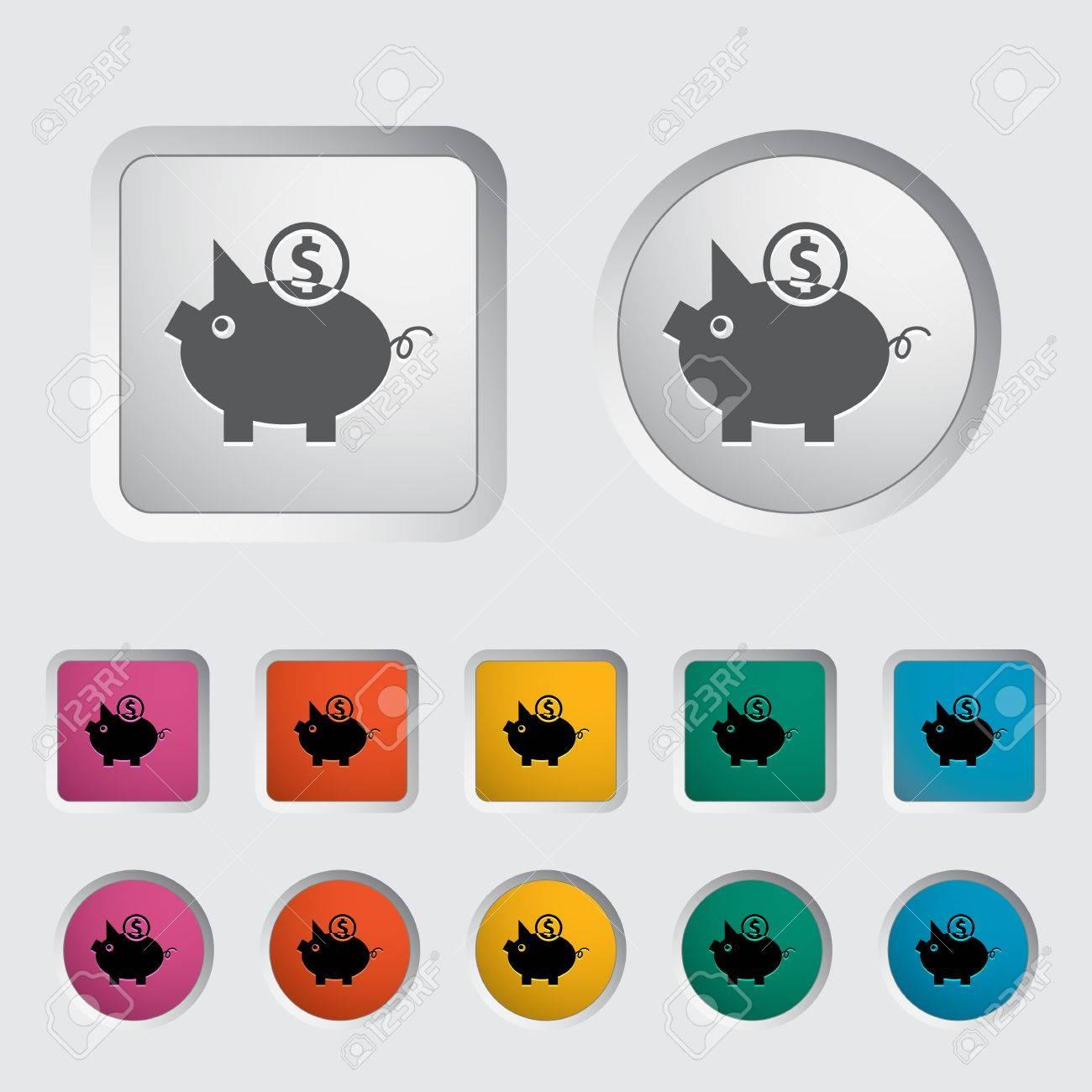 Piggy bank icon. Vector illustration. Stock Vector - 16786963