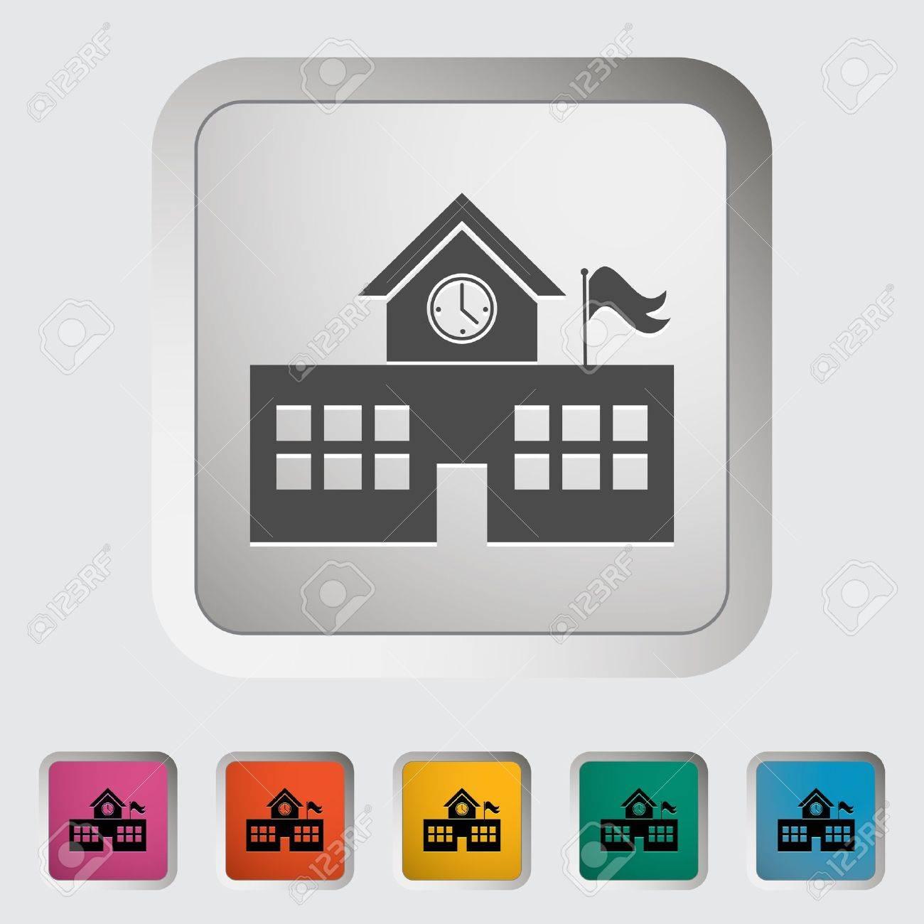 School building. Single icon. Vector illustration. Stock Vector - 18564108
