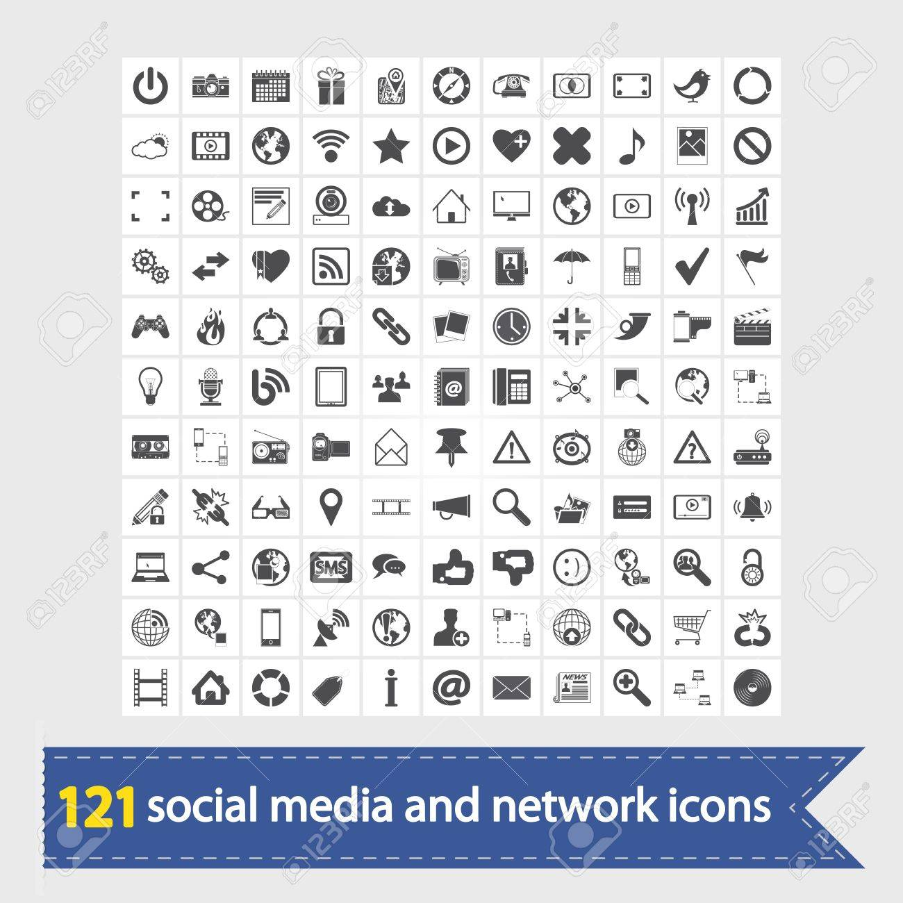 121 Social media and network icons  Vector illustration Stock Vector - 18650154