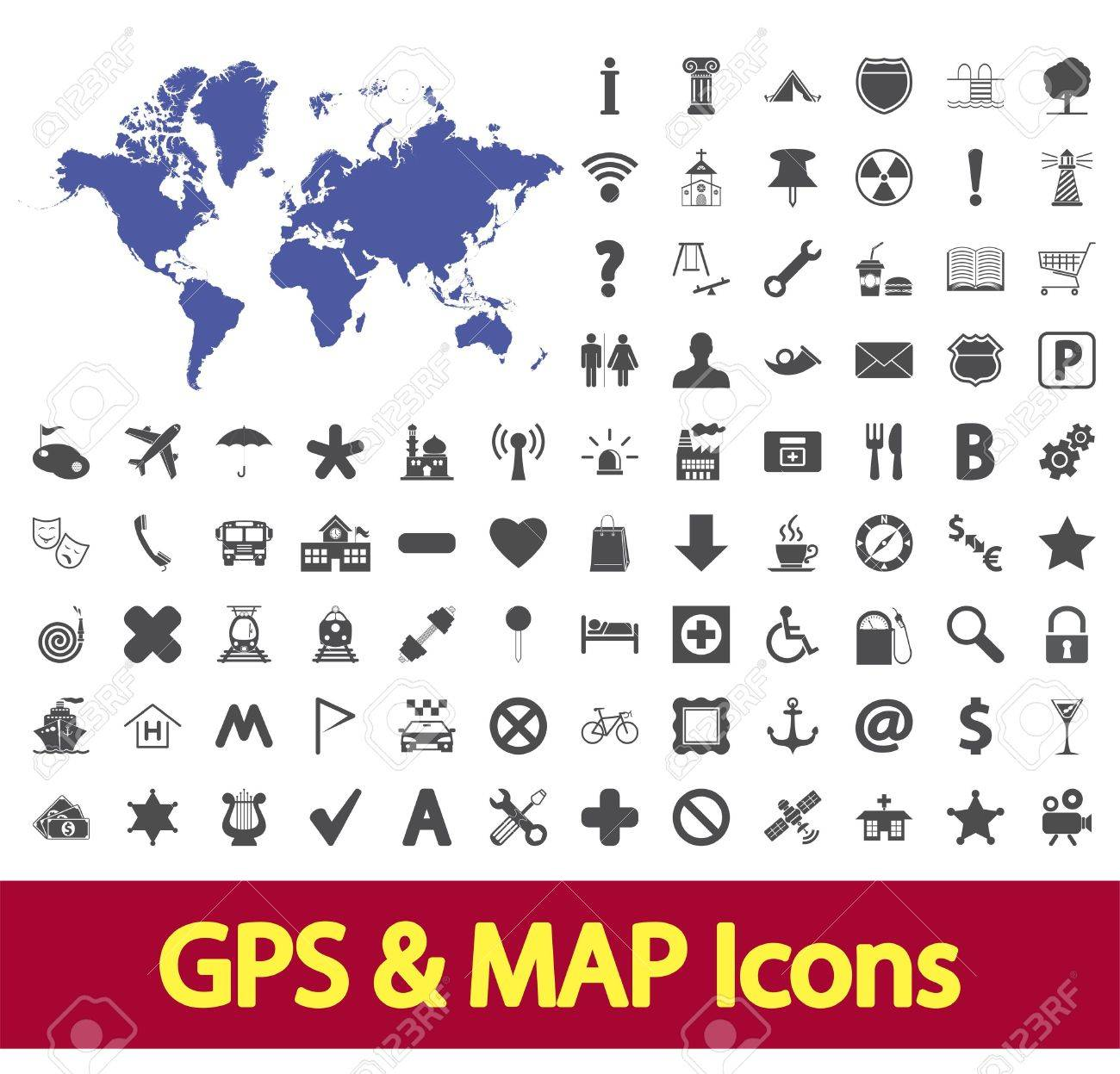 Navigation map icons set  Vector illustration Stock Vector - 18650165