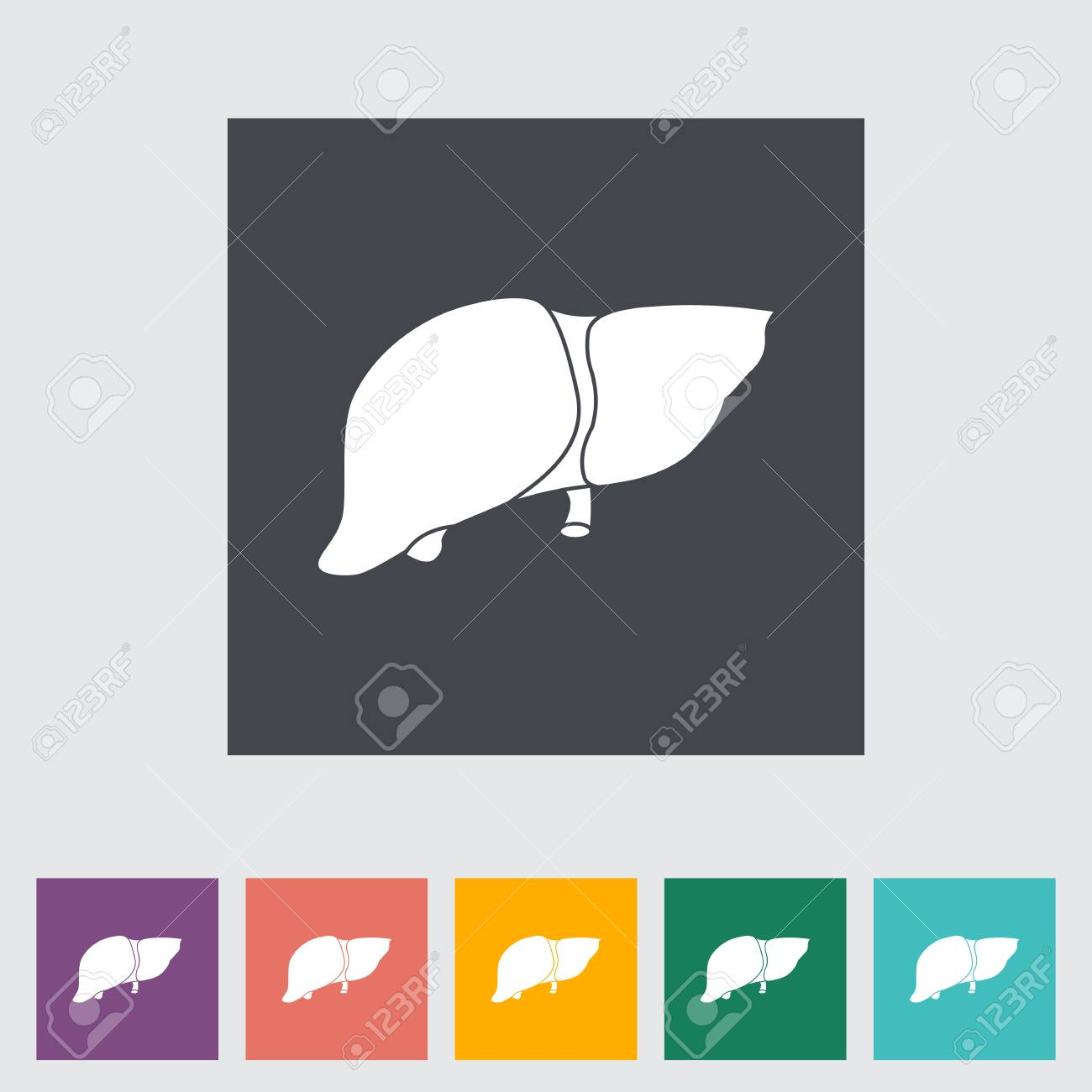 Liver flat icon illustration. Stock Vector - 21114822
