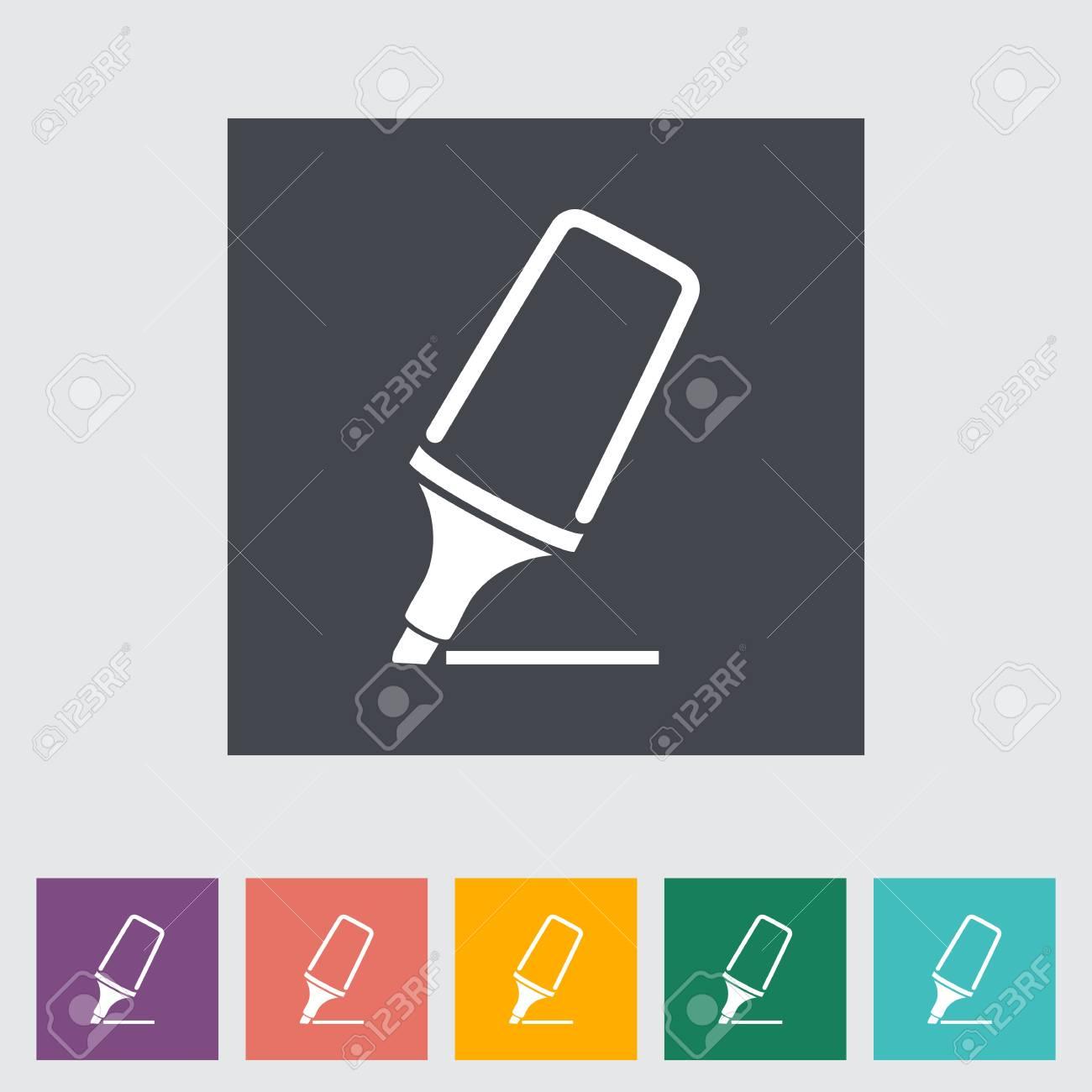 Marker. Single flat icon. Stock Vector - 21686732