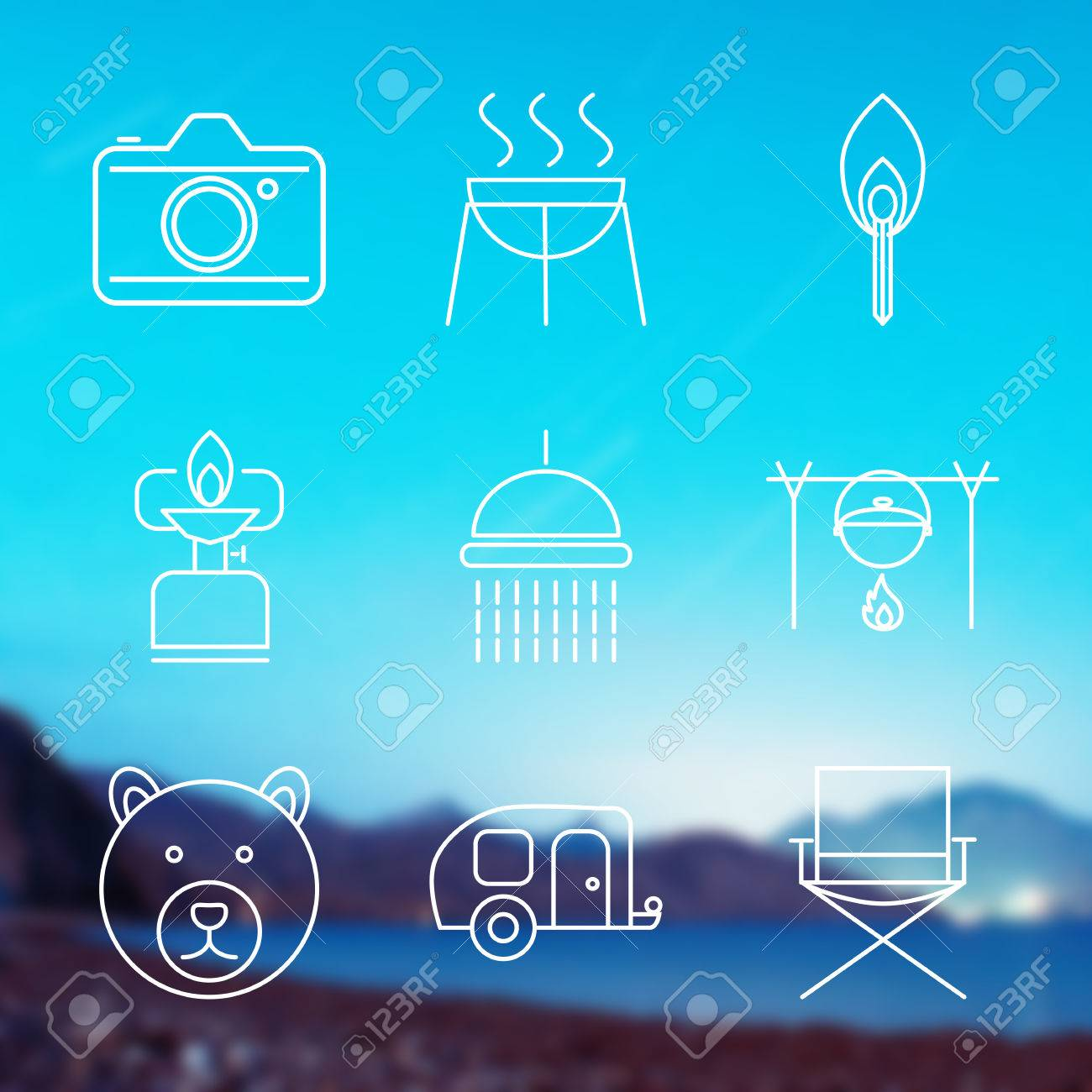 Set of Outline stroke Camping icons on blurred background. Vector illustration - 38322799