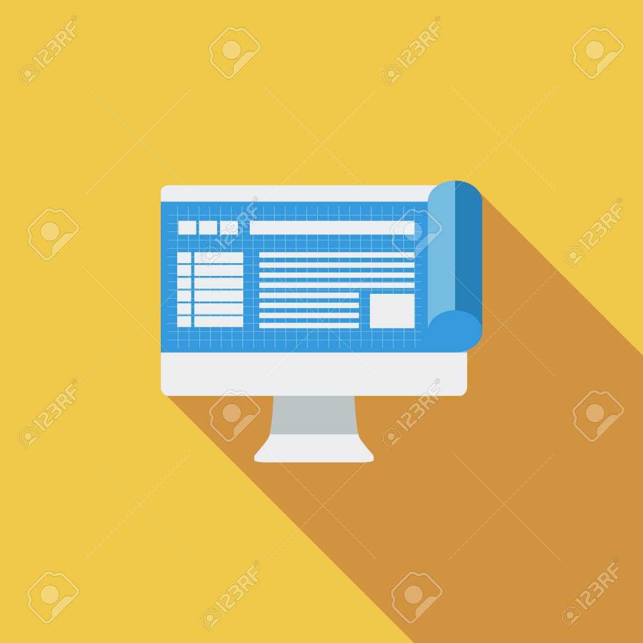 Monitor whit blueprint icon flat vector related icon with long monitor whit blueprint icon flat vector related icon with long shadow for web and mobile malvernweather Gallery
