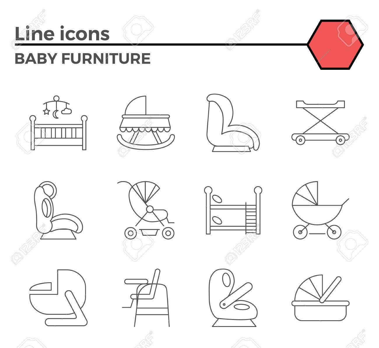 Muebles Para Bebés Iconos Relacionados Con Delgadas Línea ...