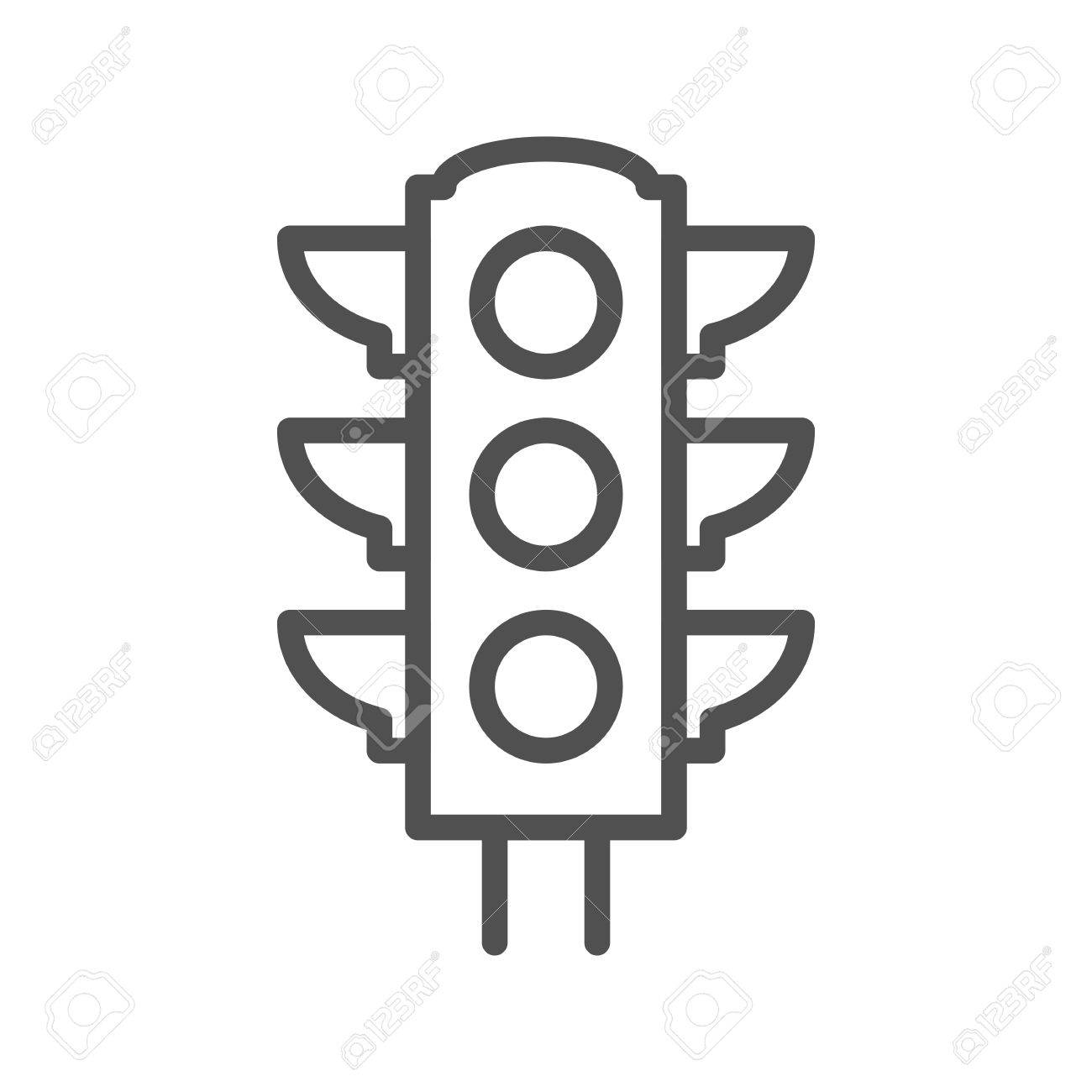 Traffic Light Thin Line Vector Icon Isolated On The White Background ... for stop light black and white  45jwn