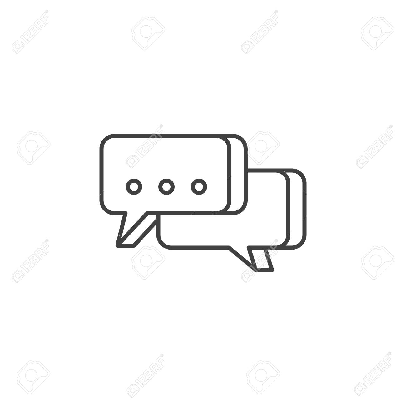 Speech Bubble Icon. Speech Bubble Related Vector Line Icon. Isolated on White Background. Editable Stroke. - 124391960