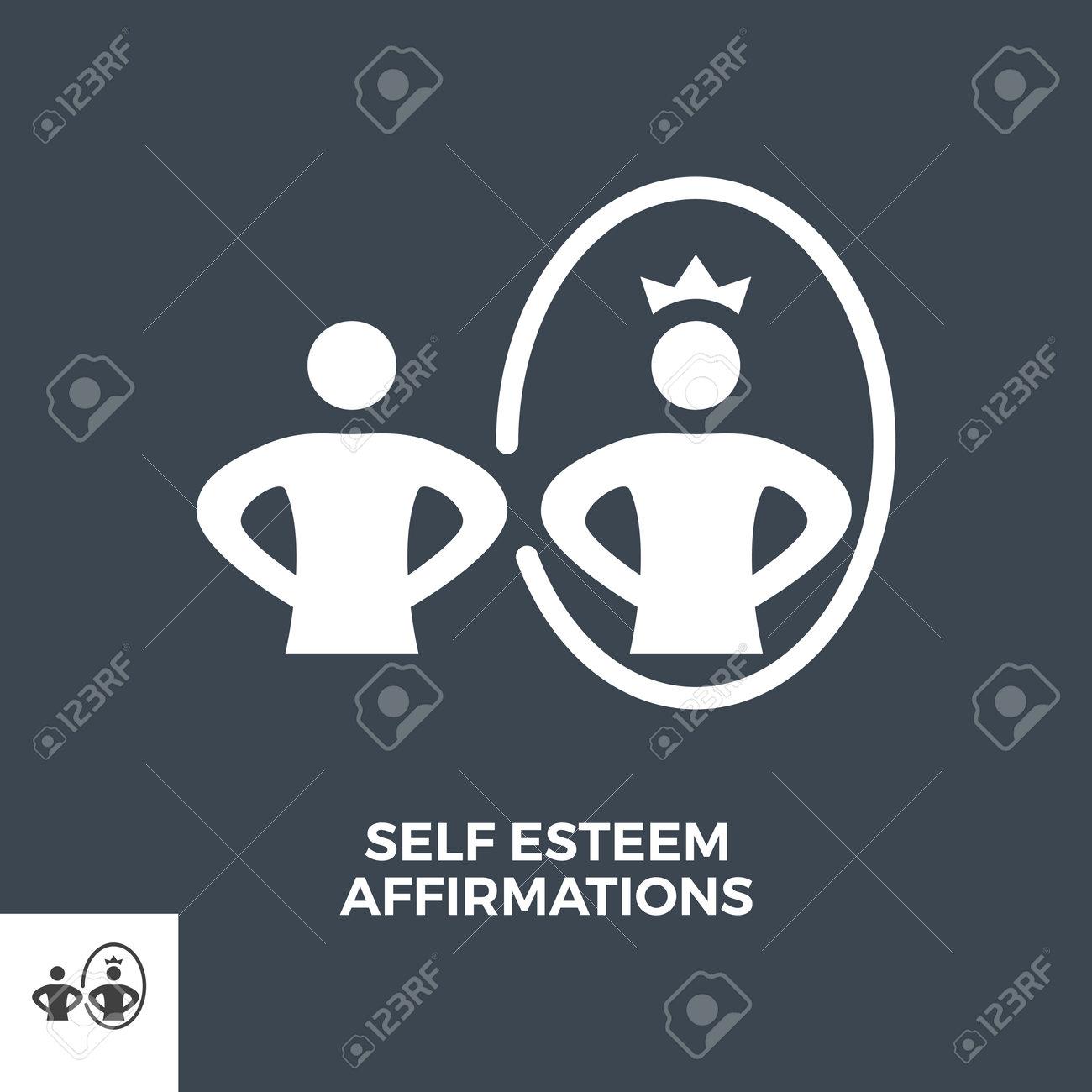 Self Esteem Affirmations Glyph Vector Icon. - 160579743