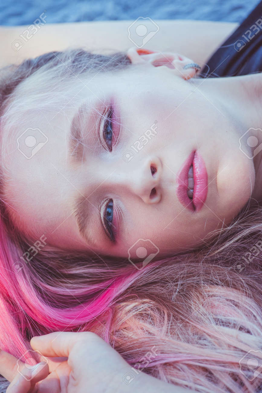 girl portrait. Outdoor portrait of cute little girl in summer day. girl with pink hair. Child 9-10 - 159375725