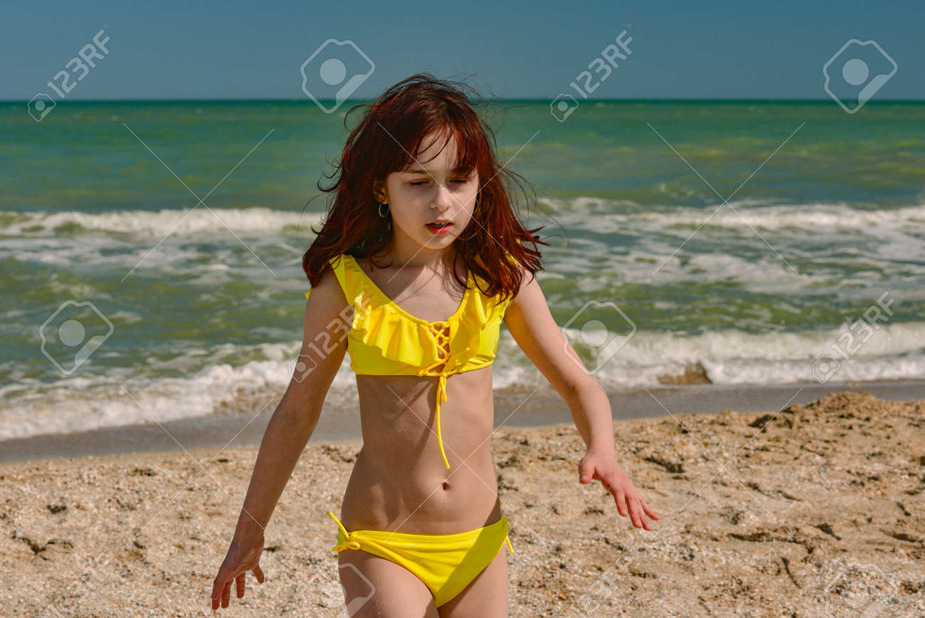 Girl In Summer Time. Girl In A Swimsuit On Vacation. Teenager Girl ...