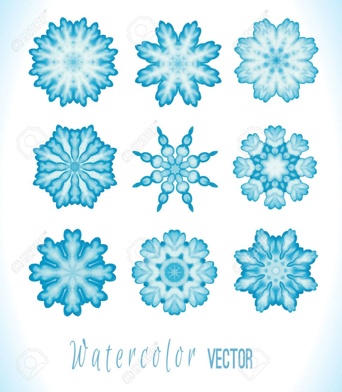 set of snowflakes fractals or mandalas great for christmas or