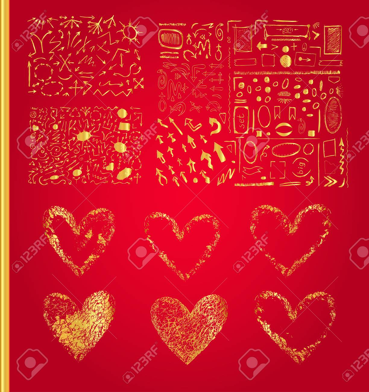 Vector Set Of Golden Hearts Set Of Symbols Heart Isolated Royalty