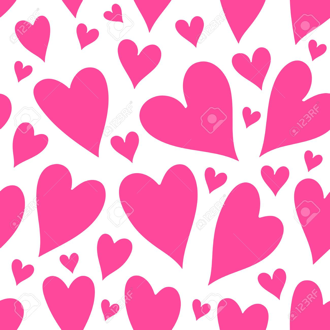 Seamless Pattern Of Pink Hearts Valentines Day Background Royalty