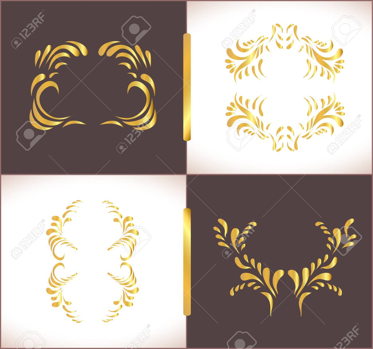 Gold artistic pages set decorative luxury greeting card or gold artistic pages set decorative luxury greeting card or invitation template celebration background with stopboris Images
