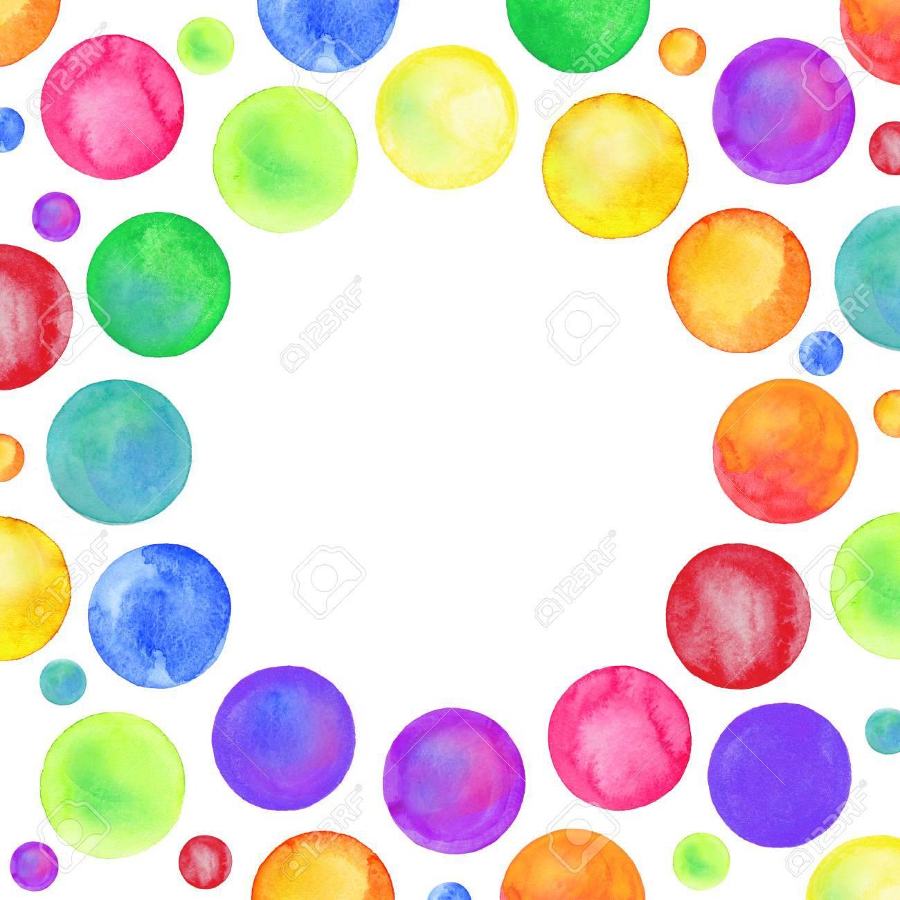 Textura De Confeti De Punto Multicolor. Marco De Frontera De Círculo ...