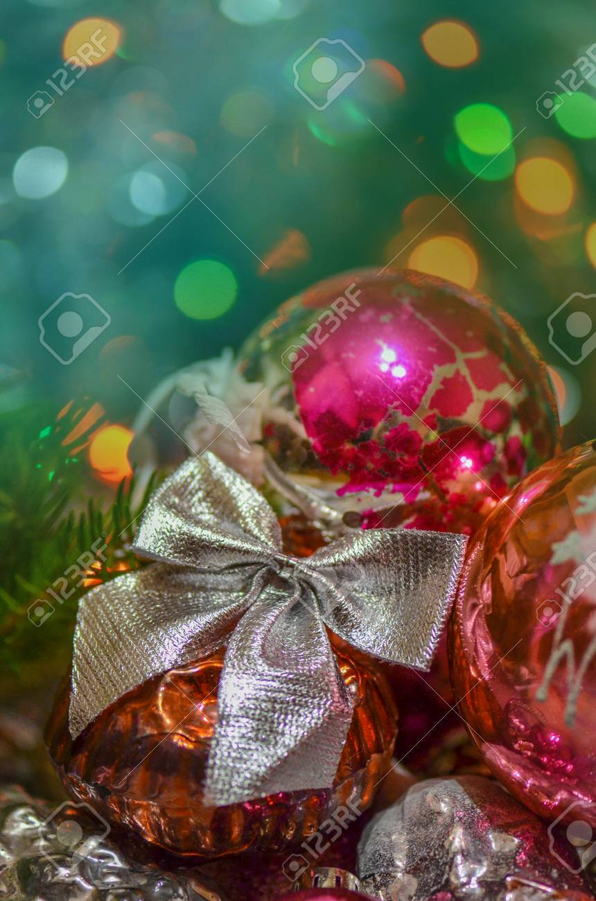 Juguetes Y Adornos De Decoración Navideña Adornos De Navidad Vintage Imagen Color Estilo Vintage