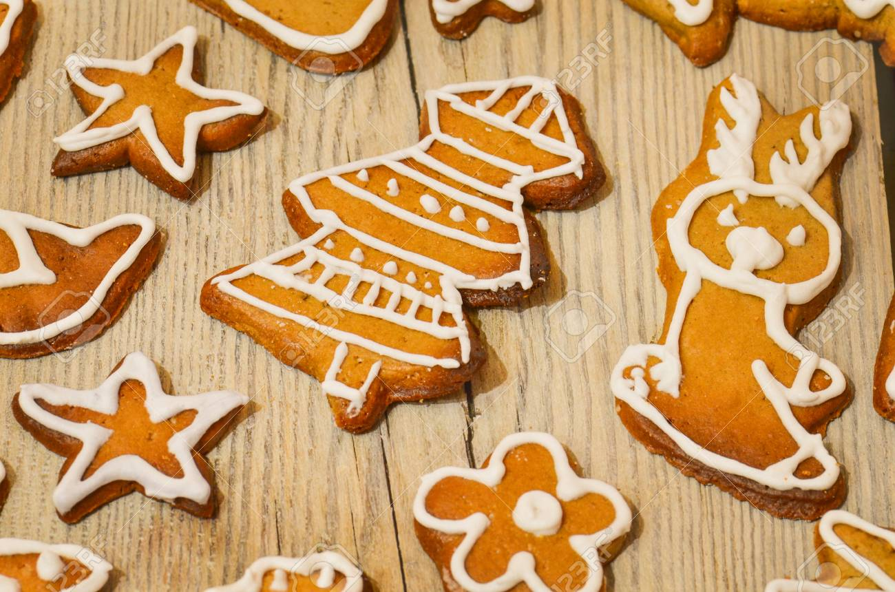 Traditional Christmas Treat Tasty Gingerbread Cookies On Wooden