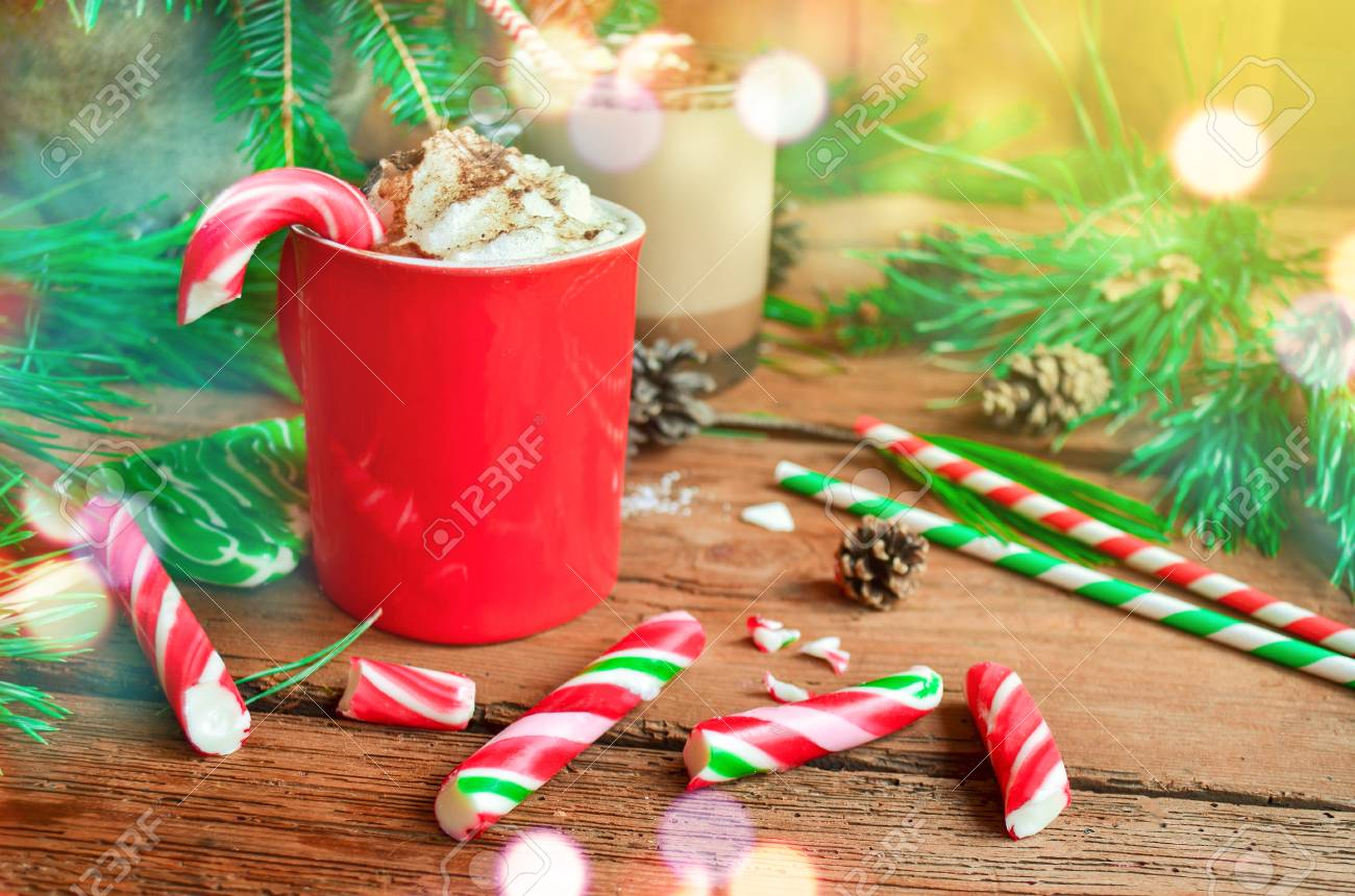 Cup Of Tasty Cocoa On Blurred Background Hot Chocolate With