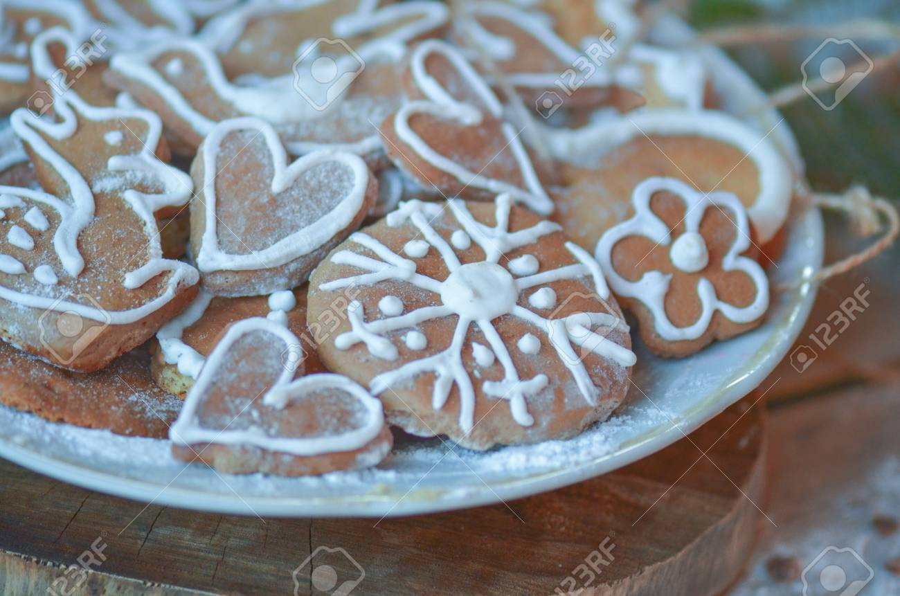 Valentine S Day Or Christmas Cookies In Bowl Gingerbread Heart