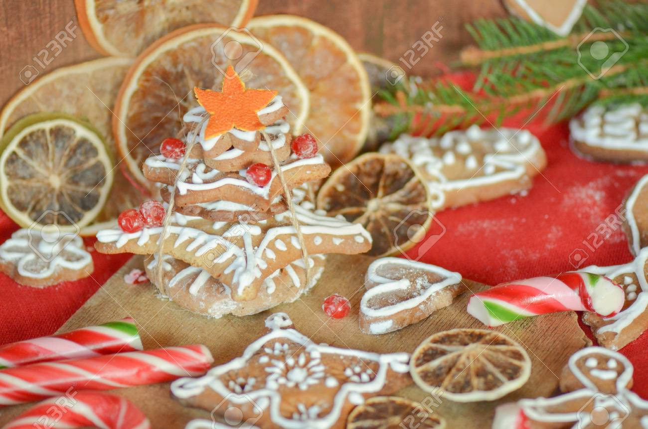 Christmas Gingerbread, Spices And Decorations With Fir Tree Branches ...
