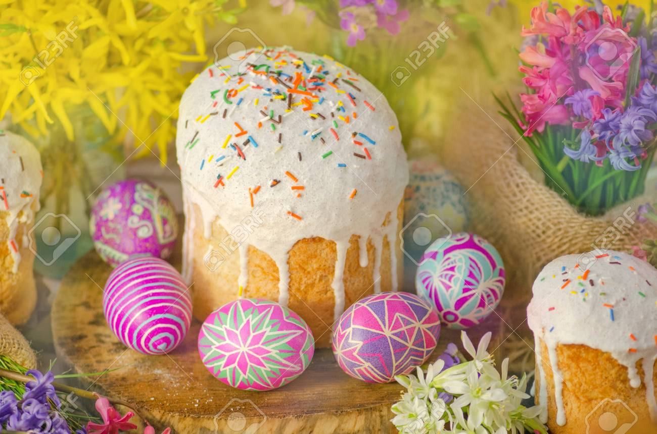 Ukrainian Traditional Easter Bread Paska Or Kulich Easter Eggs