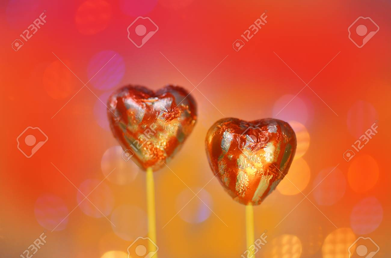 Red Chocolate Hearts Wrapped In Red Foil For Valentine S Day